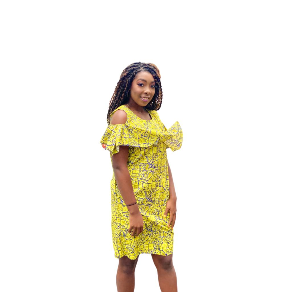 Yellow cold shoulder dress with pockets