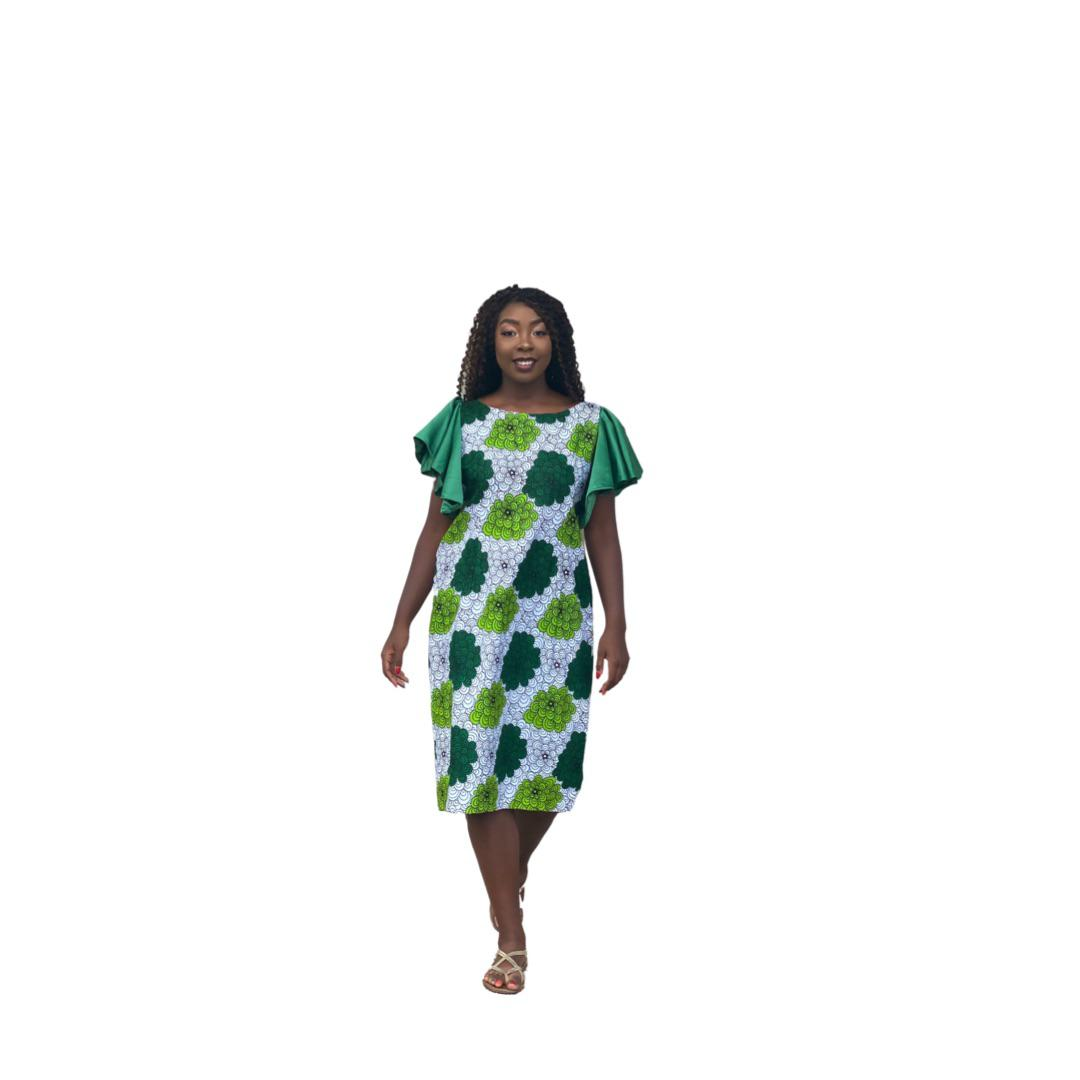 Green and White Flared Arm Dress